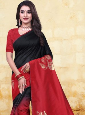 Banarasi Silk Woven Half N Half Designer Saree in Black and Red