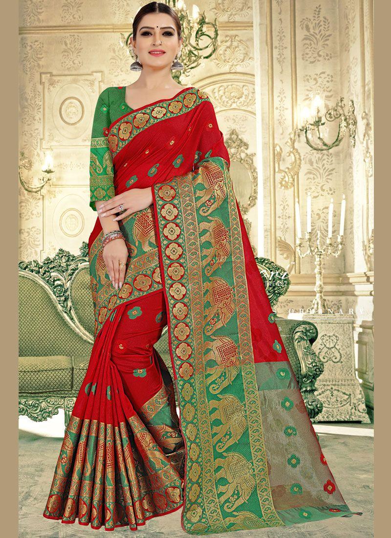 Banarasi Silk Woven Red Classic Designer Saree