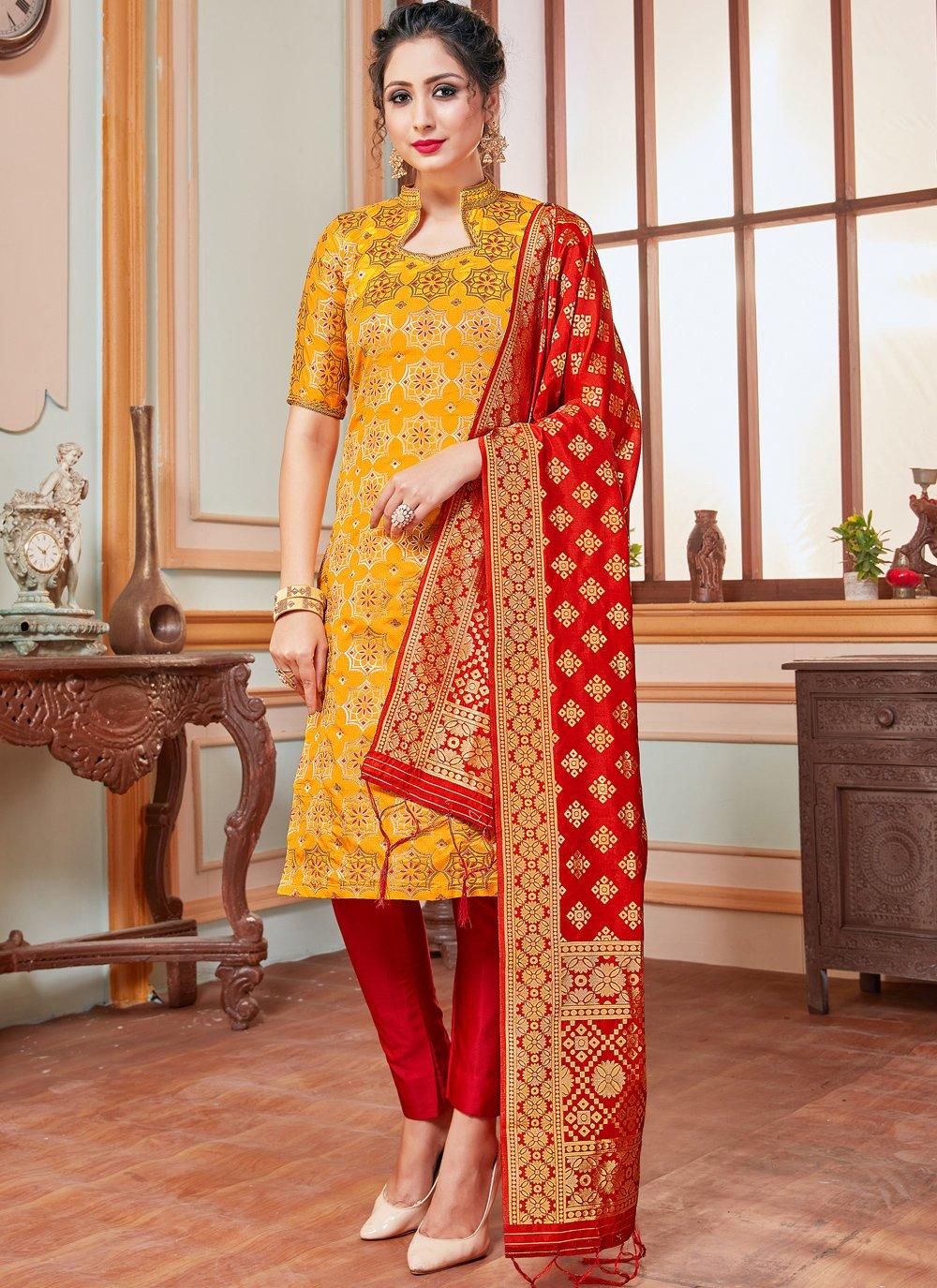 Banarasi Silk Yellow Trendy Salwar Suit