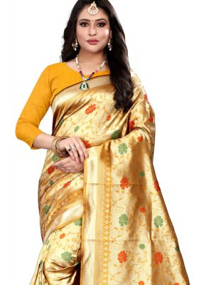 Banarasi Silk Yellow Trendy Saree