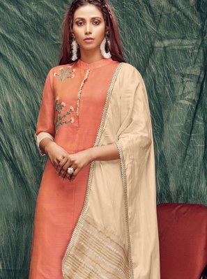 Banarasi Silk Zardosi Work Orange Casual Kurti