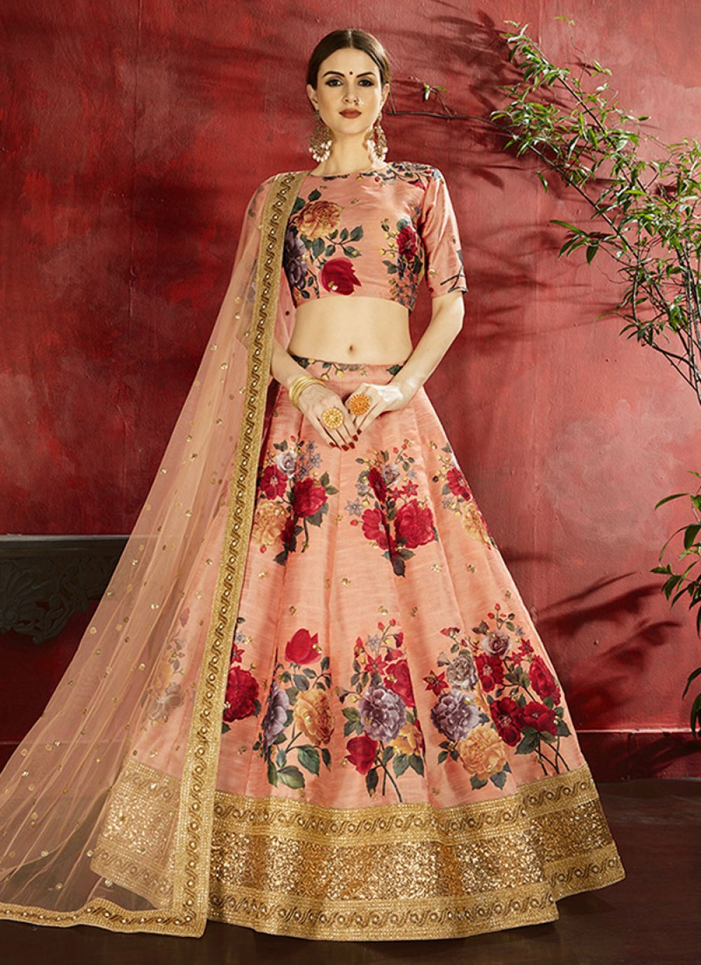 Banglori Silk Designer Lehenga Choli in Peach