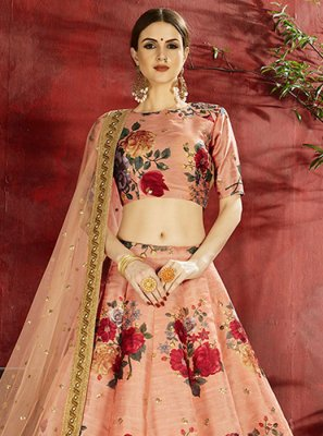Banglori Silk Designer Lehenga Choli in Peach