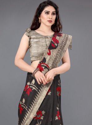 Beige and Black Printed Khadi Silk Trendy Saree