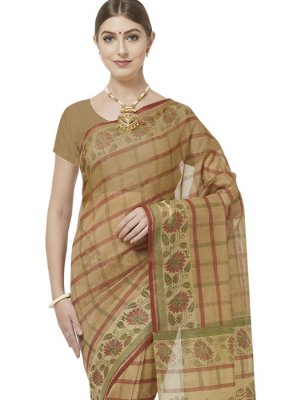Beige and Brown Cotton Casual Saree