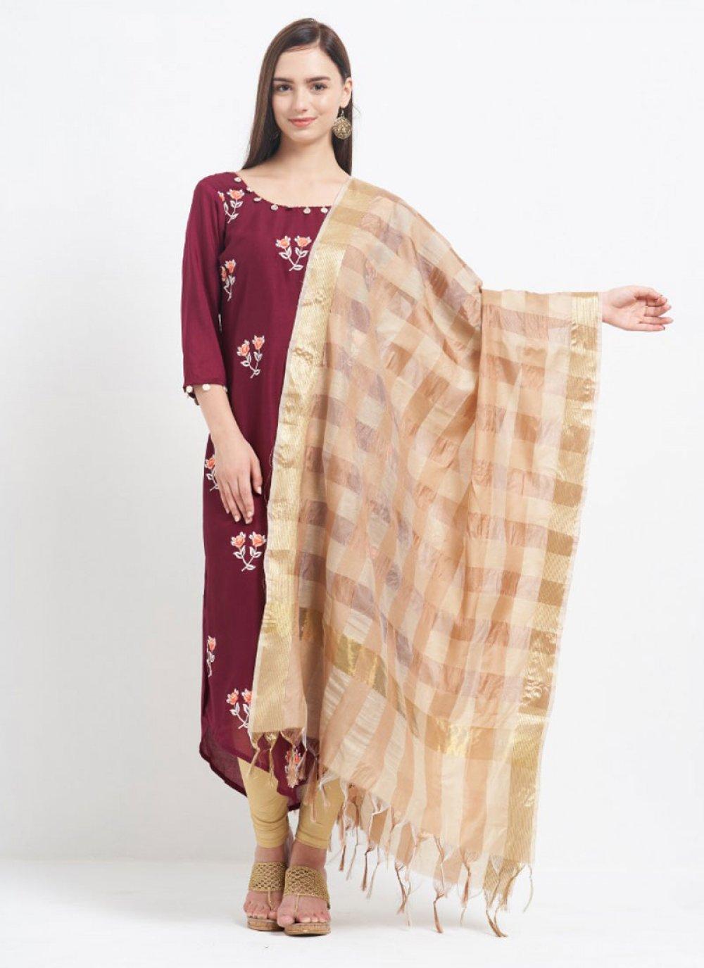 Beige and Cream Art Banarasi Silk Festival Designer Dupatta