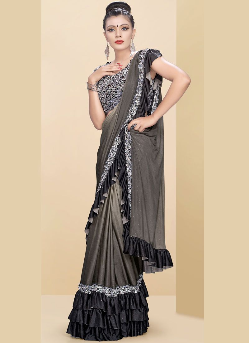 Beige and Grey Fancy Fabric Plain Classic Saree