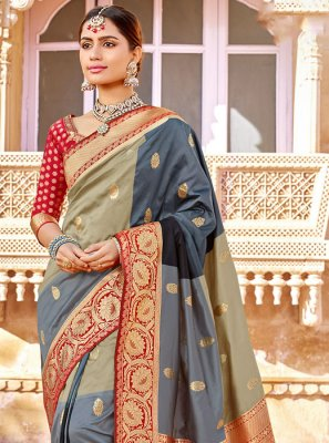 Beige and Grey Weaving Reception Designer Saree