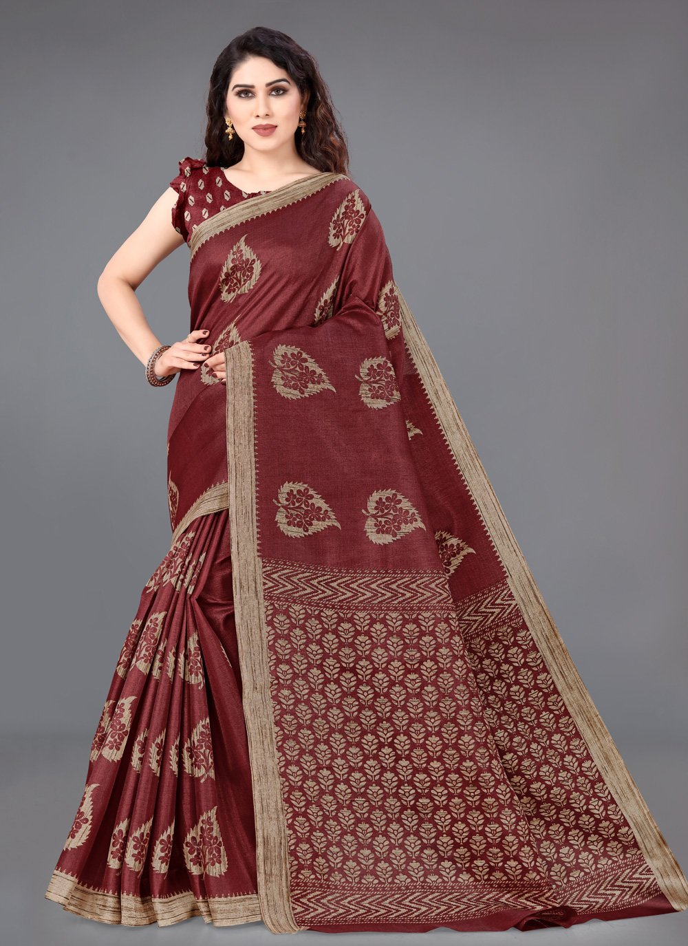 Beige and Maroon Traditional Saree