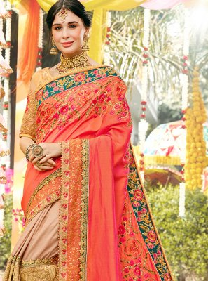 Beige and Orange Embroidered Classic Designer Saree