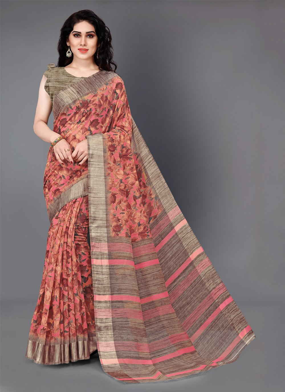 Beige and Peach Casual Cotton Casual Saree