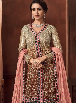 Beige and Pink Wedding Designer Salwar Kameez