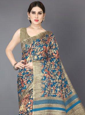 Beige and Turquoise Printed Classic Designer Saree