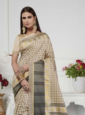 Beige Art Silk Casual Saree