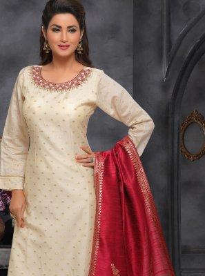 Beige Art Silk Designer Salwar Kameez
