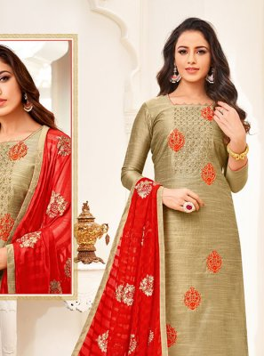 Beige Art Silk Embroidered Churidar Salwar Suit