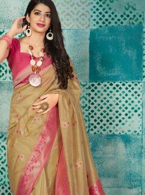 Beige Banarasi Silk Weaving Traditional Saree