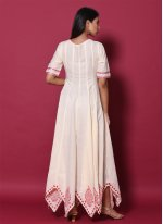 Beige Block Print Readymade Gown