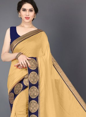 Beige Border Silk Designer Saree