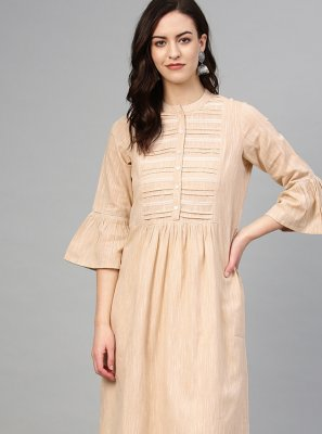 Beige Buttons Cotton Kurta