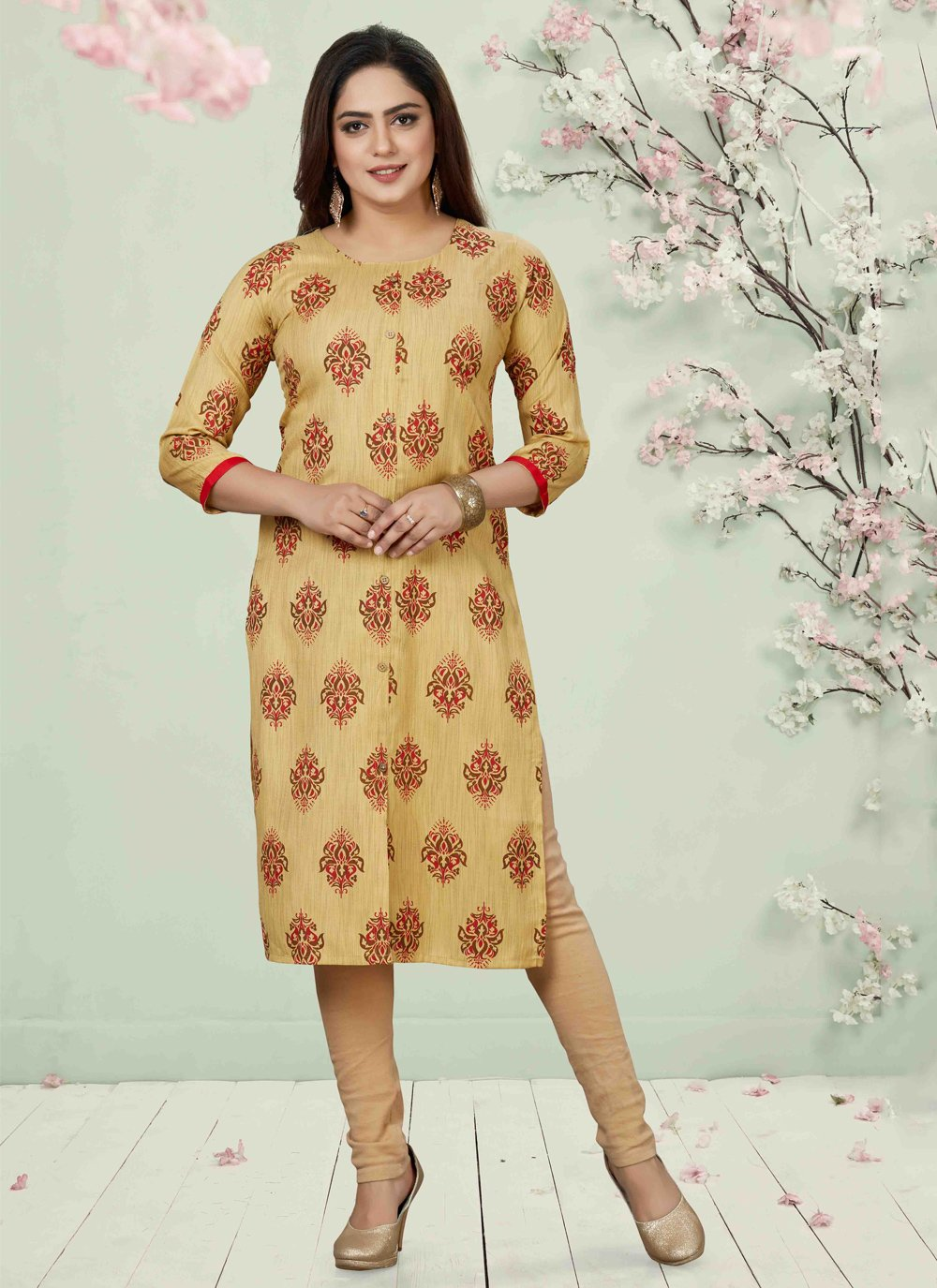 Beige Casual Party Wear Kurti