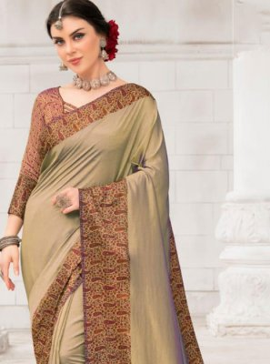 Beige Casual Silk Saree