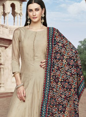 Beige Chanderi Readymade Suit