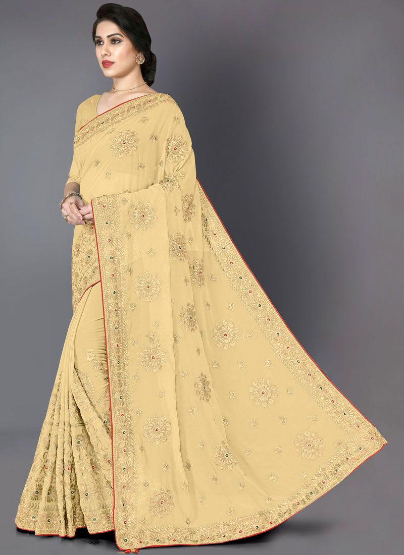 Beige Color Designer Saree