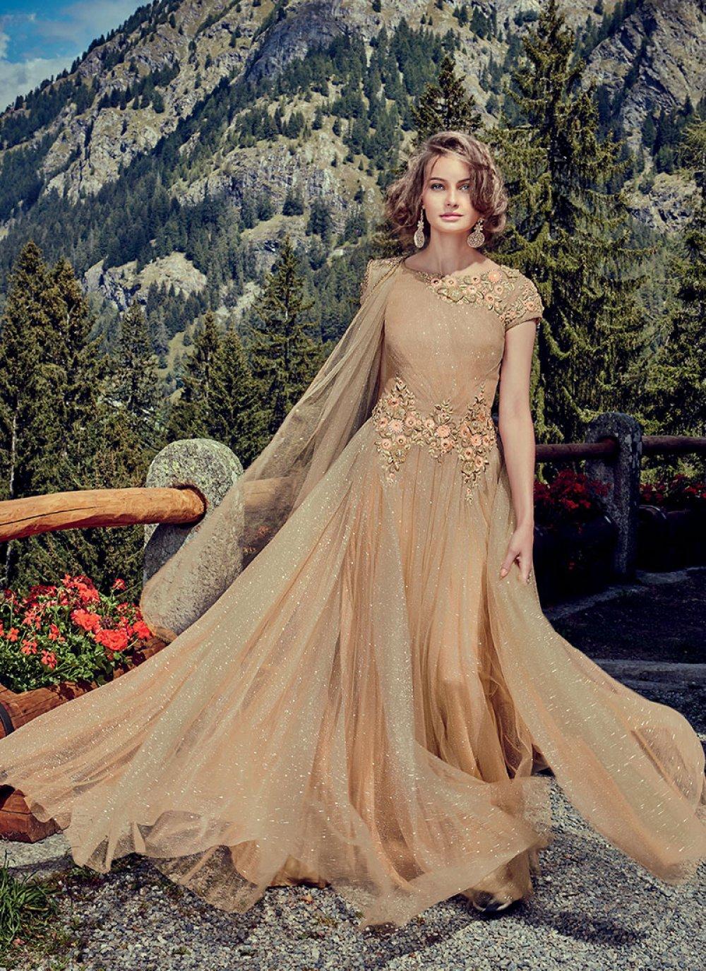 Beige Color Floor Length Trendy Gown