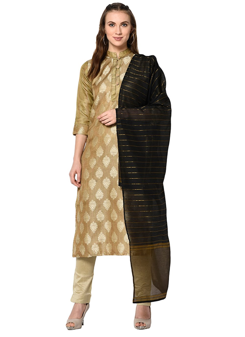 Beige Cotton Abstract Print Pant Style Suit