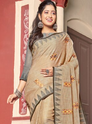 Beige Cotton Embroidered Contemporary Saree