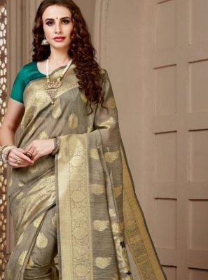 Beige Cotton Silk Festival Designer Traditional Saree