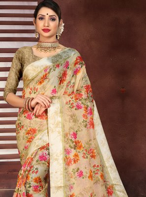 Beige Cotton Silk Printed Designer Saree
