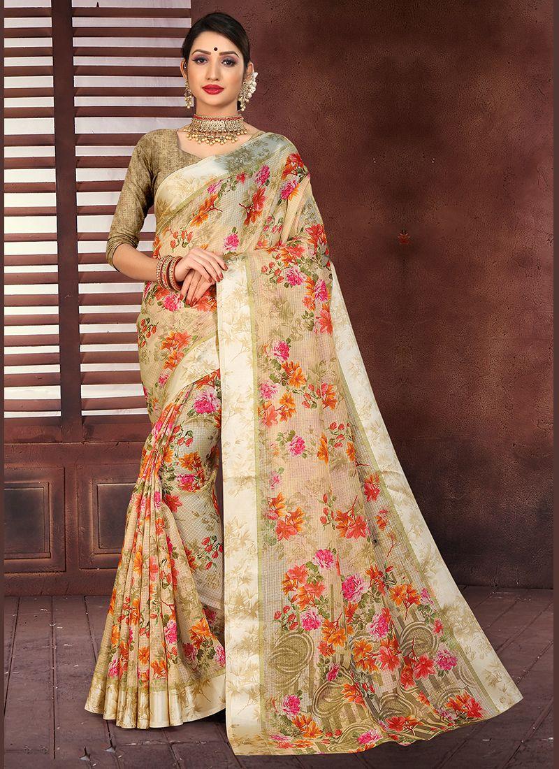 Beige Cotton Silk Printed Designer Saree