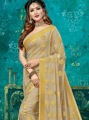 Beige Crepe Silk Designer Traditional Saree