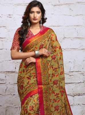 Beige Digital Print Casual Saree