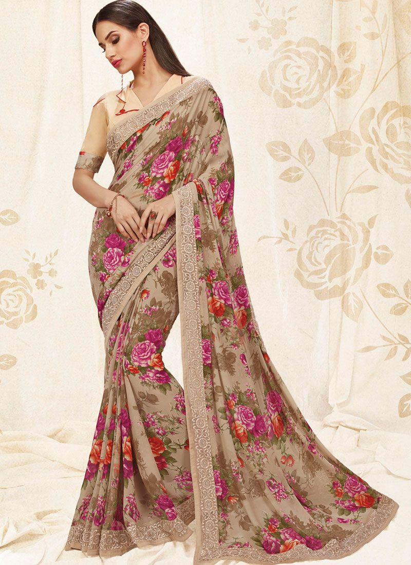 Beige Digital Print Party Casual Saree