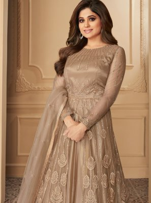 Beige Embroidered Anarkali Suit