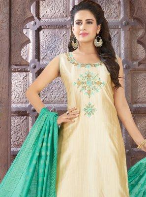 Beige Embroidered Art Silk Bollywood Salwar Kameez