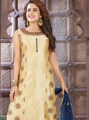 Beige Embroidered Art Silk Churidar Salwar Kameez