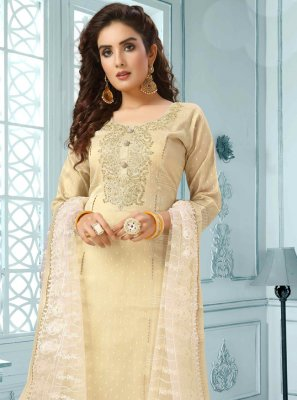 Beige Embroidered Art Silk Salwar Kameez