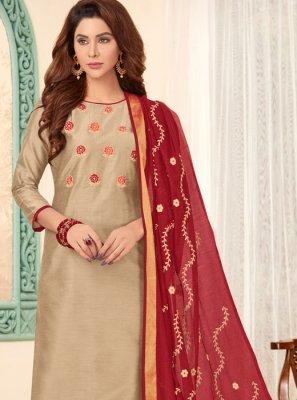 Beige Embroidered Ceremonial Churidar Salwar Suit