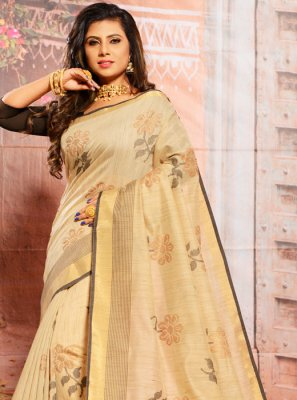 Beige Embroidered Cotton Casual Saree
