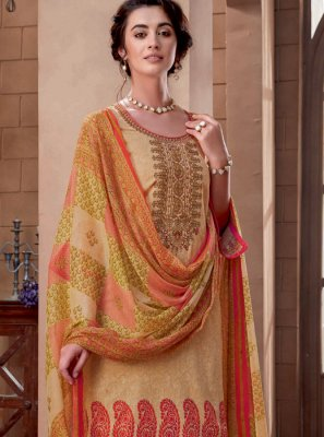 Beige Embroidered Cotton Designer Palazzo Suit