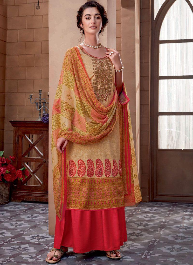 Beige Embroidered Cotton Designer Palazzo Suit