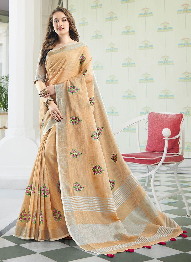Beige Embroidered Cotton Designer Saree