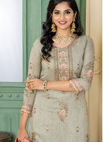 Beige Embroidered Designer Palazzo Salwar Kameez