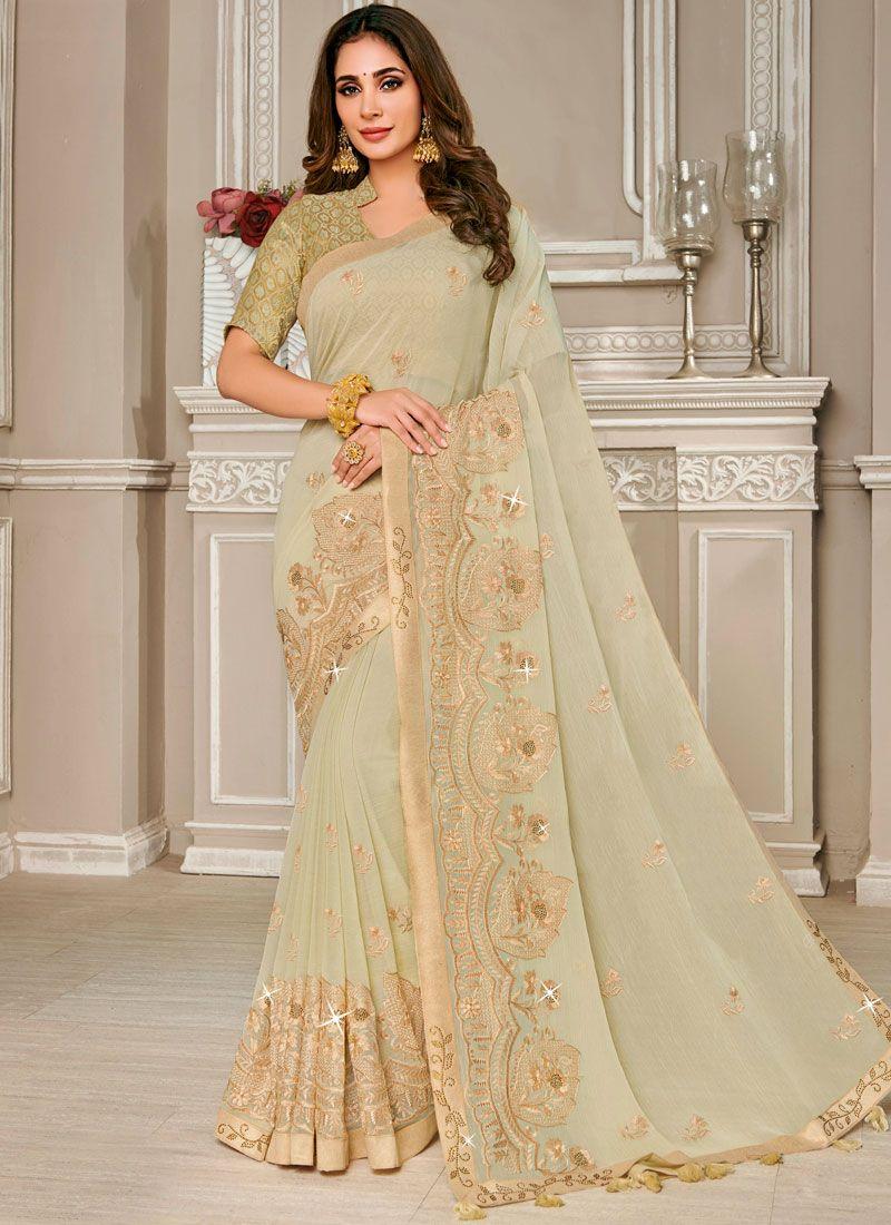 Beige Embroidered Designer Saree