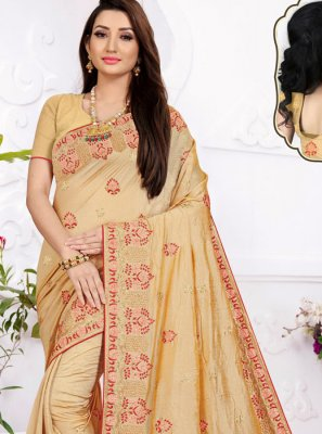 Beige Embroidered Festival Saree