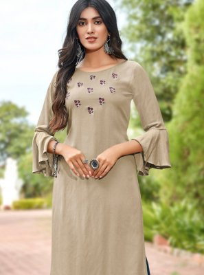 Beige Embroidered Party Wear Kurti